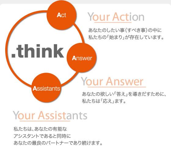 .think - Act & Answer, Assistants Your Action' あなたのしたい事(すべき事)の中に私たちの「始まり」が存在しています。 Your Answer' あなたの欲しい「答え」を導きだすために、私たちは「応え」ます。 'Your Assistants' 私たちは、あなたの有能なアシスタントであると同時にあなたの最良のパートナーであり続けます。
